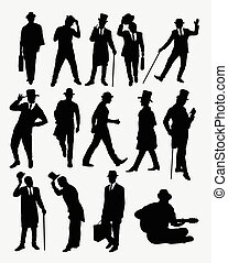 Man with hat pose silhouettes