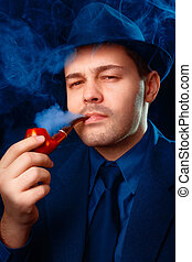 Man with Hat Smoking a Pipe