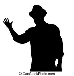 Man with hat waving his hand in greeting