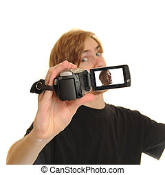 Man with HD Camcorder