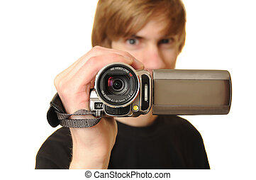 Man with HD Camcorder - Young adult man holding an HD...