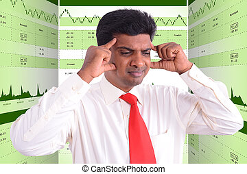 Man with head ache analyzing in stock market