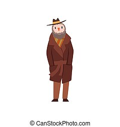 Man with head of owl, bird character wearing retro clothes vector Illustration on a white background