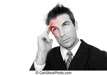 Man with Headache - A business man with a headache isolated...