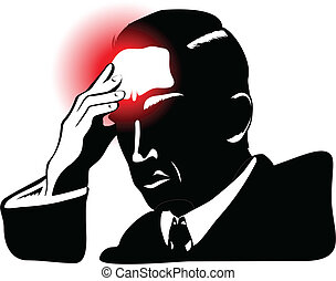 Silhouete of man with headache and hand set to forehead