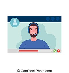 Man with headphone in video chat screenshot design, Call online conference and webcam theme Vector illustration