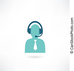 man with headphones and a microphone icon
