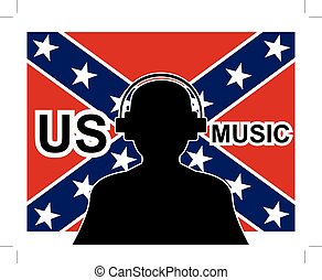 man with headphones and confederate flag in background