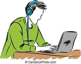 man with headphones at computer vector illustration