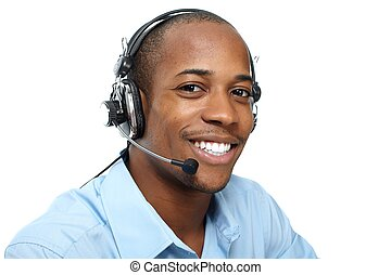 Man with headphones. Call center operator