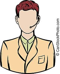 Man with headset icon cartoon