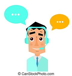 Man with headsets and colorful speech bubbles in call center.