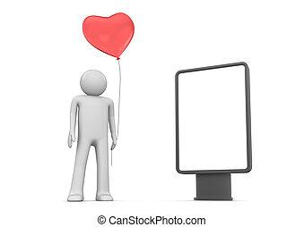 Man with heart balloon citylight - Love, valentine day...