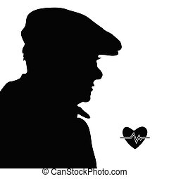 man with heartbeat icon silhouette illustration