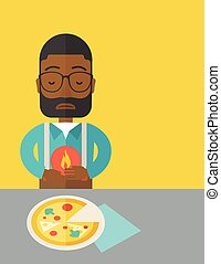 Man with heartburn. - A sick african-american man with ...
