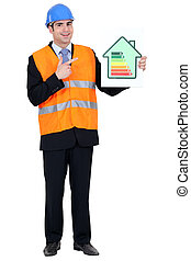 Man with helmet pointing at energy rating