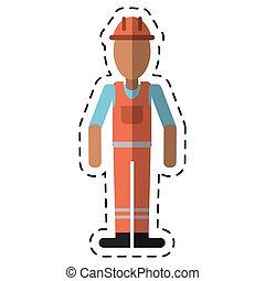man with helmet uniform work professional contractor-dot line