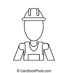 man with helmet uniform work professional contractor thin line