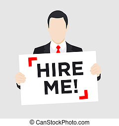 Man with Hire Me Sign