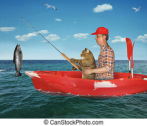 Man with his cat caught a fish