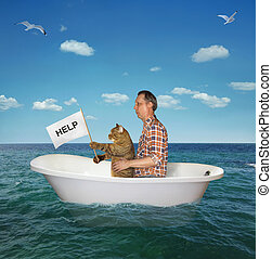 Man with his cat drift on the sea 2