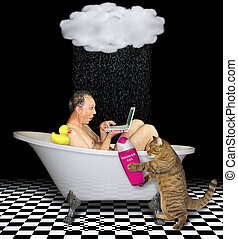 Man with his cat in the bathroom 2