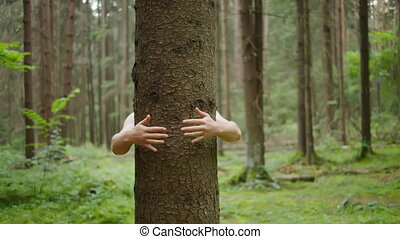 Man hugs a tree trunk with his hands, nature conservation, environmental protection