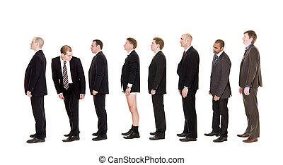 Man with his pants down standing in a line