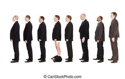 Man with his pants down standing in line together with other men
