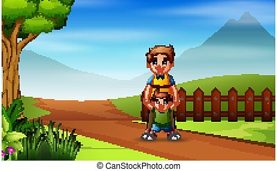 Man with his son walking on the road