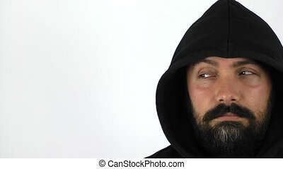 Man With Hood on White Background