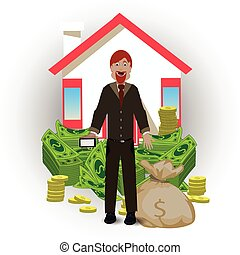 man with house and money bag on a white background