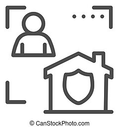 Man with house in frame and security emblem line icon, smart home symbol, identity autorization vector sign white background, person recognition process icon outline style. Vector graphics.