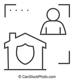 Man with house in frame and security emblem thin line icon, smart home symbol, identity autorization vector sign white background, person recognition process icon outline style. Vector graphics.