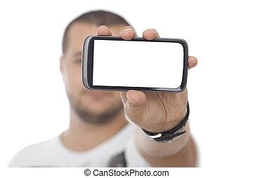 Man with Huge Blank Screen Smartphone
