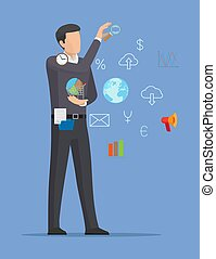 Man with Icons Collection Vector Illustration