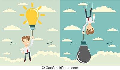 man with idea bulb as balloon . Set. Stock flat vector...
