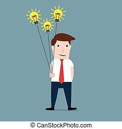 Man with idea bulbs as balloons
