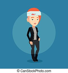 Man with injured head vector illustration. - Upset caucasian...