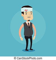 Man with injured head vector illustration.