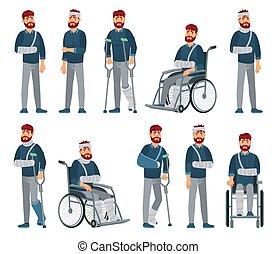 Man with injury. Wheelchair man with broken arm and leg in ...