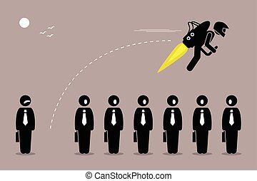 Man with Jetpack - Businessman flying away with a jetpack ...