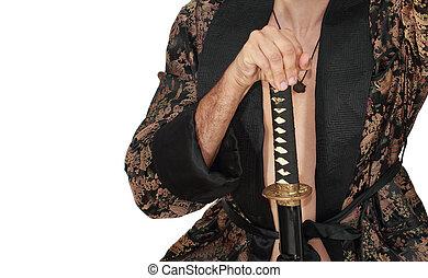 man with katana in kimono