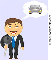 man with key and car - man holding key and dreaming about...