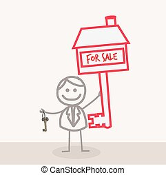 Man with Key For Sale House
