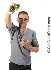 man with kiwi on white background