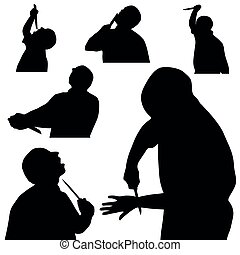man with knife silhouette in black color on white