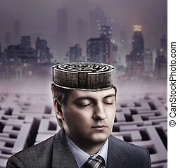 Man with labyrinth in his brain