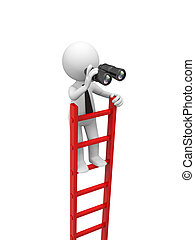 Man with ladder - 3d man, people standing on ladder , ...