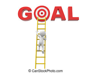 Man with ladder and goal